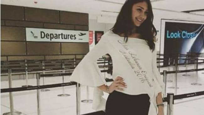Najah Ghamrawi in July heading to Beirut for the Lebanese Miss Emigrants finals. Picture: Facebook