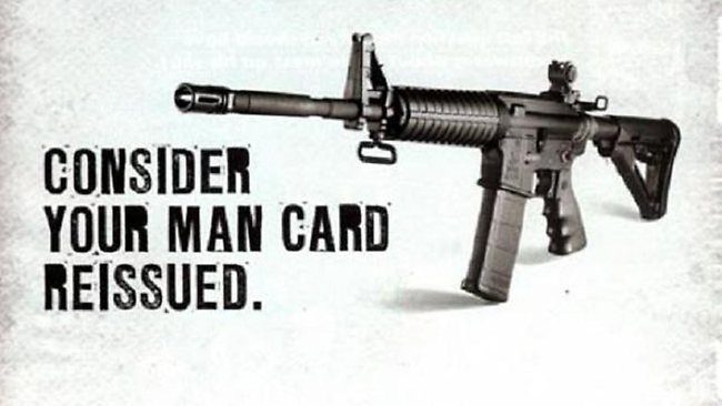 A Bushmaster advert for the AR-15 weapon used in Friday's massacre.
