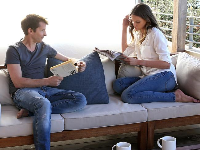 James Blunt with Sydney model Georgia McGlennon on the set of his music video. Picture: Stephen Cooper