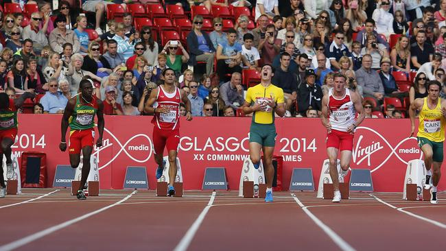 Jake Stein shouts after causing a start failure during the mens' decathlon 100m heat 1 competition at Hampden Park Stadium during the Commonwealth Games. Picture: Frank Augstein