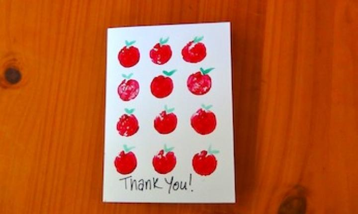 Thank you cards: cork stamp apple card