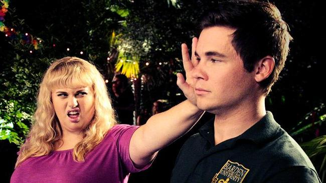 Winning duo ... Rebel Wilson and Adam DeVine on the set of Pitch Perfect.