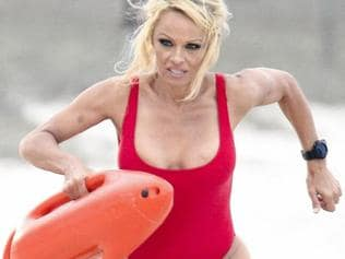 Pamela Anderson on set of Baywatch. Picture: AKM-GSI