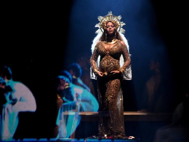 A pregnant Beyonce performed at The Grammys in February. Picture: Kevin Winter/Getty Images for NARAS