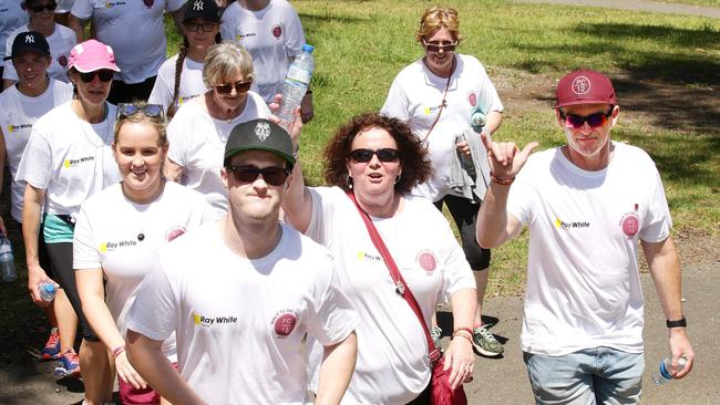 Pat Cronin's sister Emma, brother Lucas, mother Robyn and father Matt at the Pat Cronin Foundation Walk to the Valley. Picture: Andrew Tauber