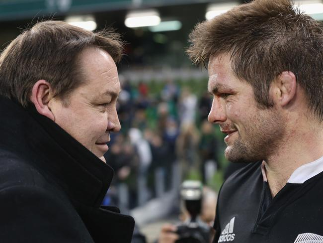 Steve Hansen and Richie McCaw share smug expressions after their final victory of 2013.