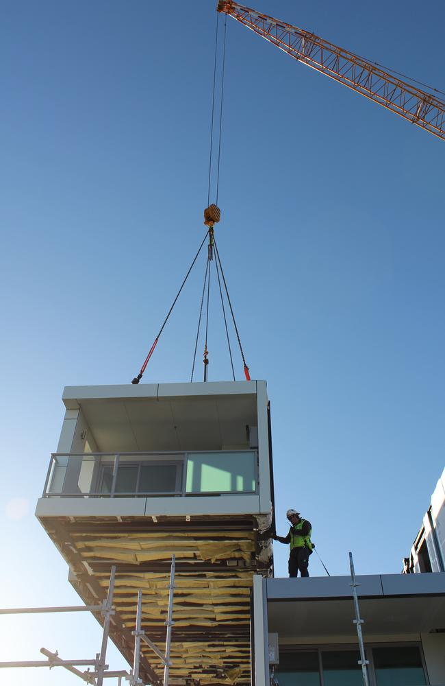 One of the modular Adara Apartments near Cockburn Central being lowered into place.