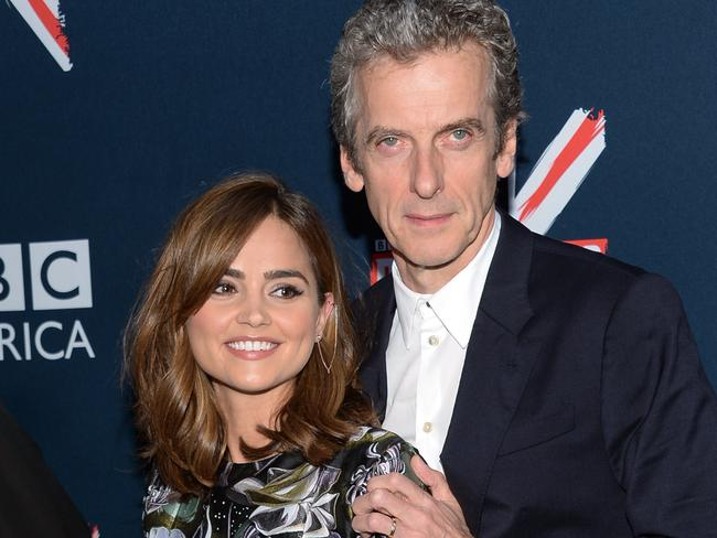 Stars ... Peter Capaldi and Jenna Coleman attend the BBC America's Doctor Who premiere fan screening at the Ziegfeld Theatre in New York. Picture: Evan Agostini