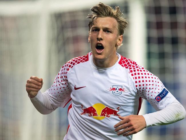 Leipzig's Swedish midfielder Emil Forsberg celebrates scoring