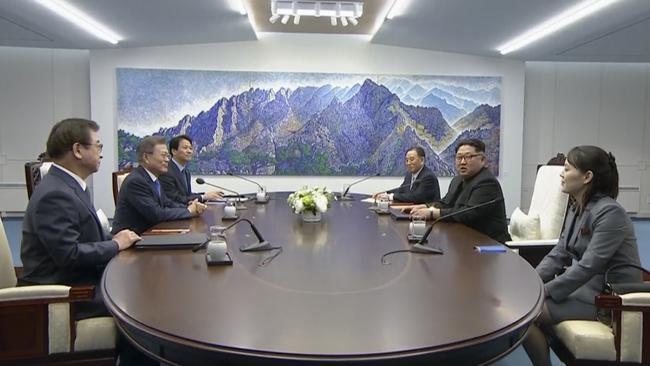 The two Korean leaders sat exactly 2018 millimetres from each other. Picture: South Korea Host Broadcast via AP