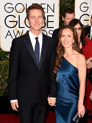 Handsome pair ... Edward Norton and Shauna Robertson. Picture: Getty Images