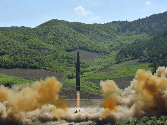 This July 4, photo distributed by the North Korean government shows what was said to be the launch of a Hwasong-14 intercontinental ballistic missile. Picture: Korean Central News Agency/Korea News Service/AP