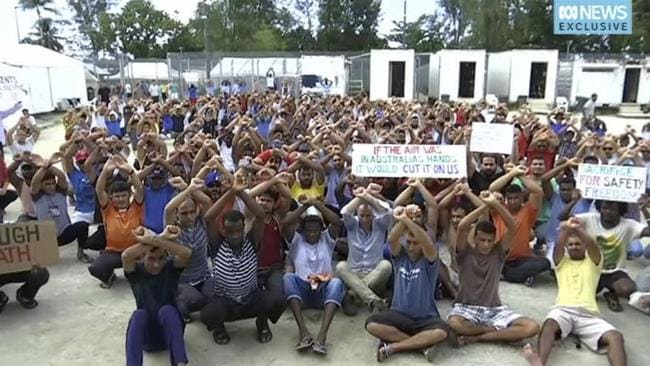 Asylum-seekers protest the closure of their detention centre on Manus Island last month. Picture: ABC