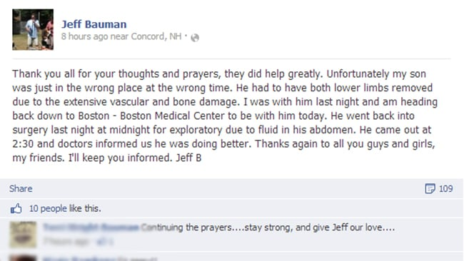 Jeff Bauman Snr posts an update about his son on Facebook.