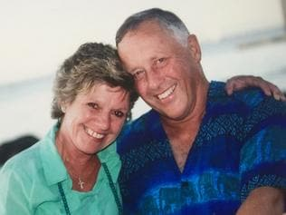 Amanda Dawson with her husband of 29 years David during a recent holiday at the Whitsundays