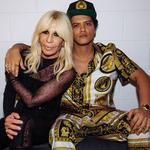 "The one on the left is responsible for the outfit on the right... ""The Iconic @donatella_versace and I before tonight's show in Milan. #24kMagicWorldTour"" Picture: Bruno Mars / Instagram"