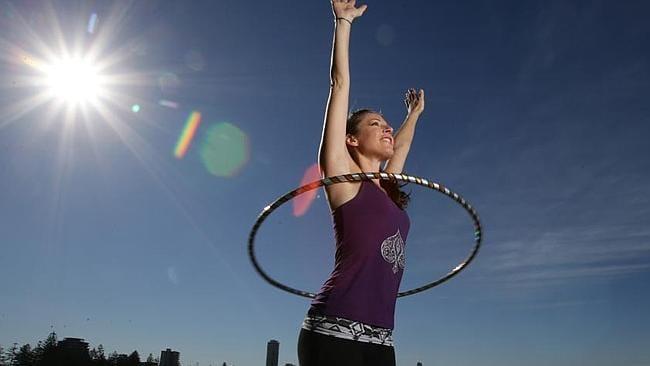 Josie Jupiter goes through her hula-hopping routine.