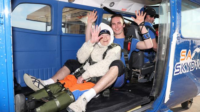 Jed Smith and Irene O'Shea on-board the plane. Picture: Calum Robertson