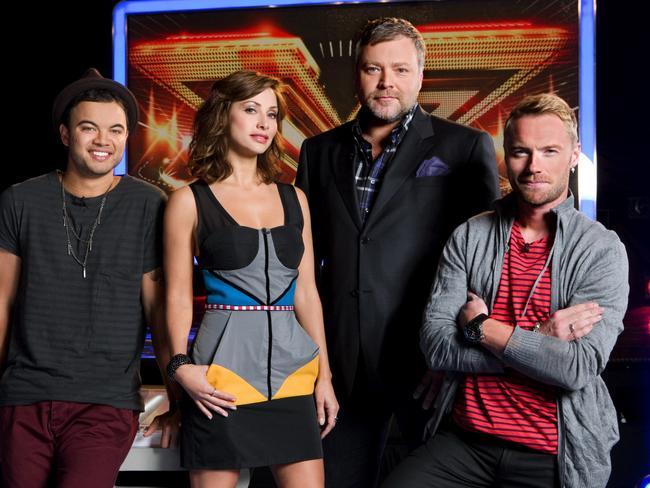 The X Factor judges in 2010: Guy Sebastian, Natalie Imbruglia, Kyle Sandilands and Ronan Keating.