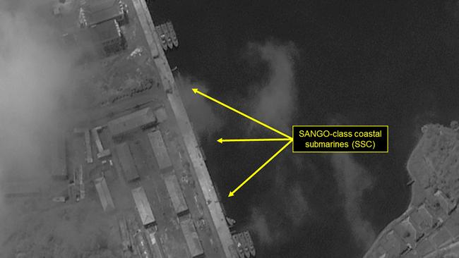 SANGO-class submarines berthed at the northeast pier of the Mayang-do Submarine Base. Picture: DigitalGlobe/38 North via Getty Images