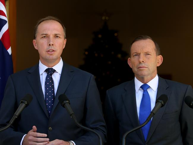 Announcement made...Health Minister Peter Dutton and PM Tony Abbott holding a press conference in the Prime Minister's Courtyard at Parliament House in Canberra. Picture: Supplied.