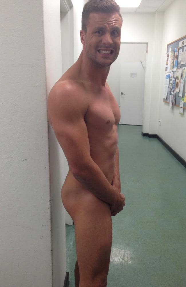 Beau Ryan naked backstage at The Footy Show / Picture: Supplied