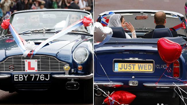 Prince William takes his new wife for a spin in his father's Aston Martin. Prince Harry was responsible for the cheeky decorations. Picture: Chris Ison