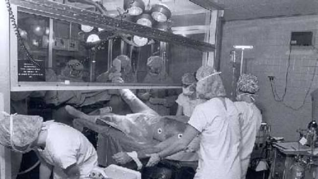 An operation in the 1980s. Picture: Courtesy of the Pennsylvania Hospital Historic Collections, Philadelphia