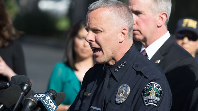 "Austin Police Chief Brian Manley says there is a ""serial bomber"" on the loose. Image: AFP."