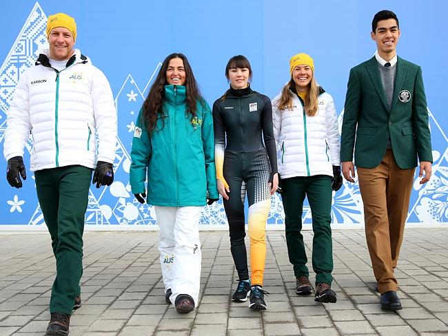 Australian athletes Phil Bellingham, wearing the opening ceremony uniform, Hannah Trigger, wearing the competition wear, Deanna Lockett, wearing competition wear, Ester Bottomley, wearing competition wear and Pierre Boda, wearing the formal uniform / Picture: Getty Images
