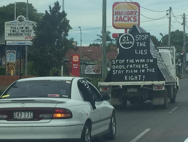 A protest sign on a truck on Ipswich Rd in Brisbane.