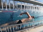 People swim in the Wacken outdoor swimming pool on February 26, 2018 in Strasbourg, eastern France, as temperatures drop below 10 degrees Celcius. Picture:AFP PHOTO / FREDERICK FLORIN