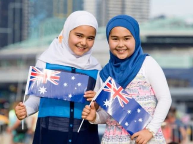 The Muslim girls who feature on the banned billboard. Picture: Supplied
