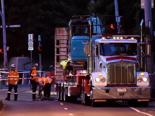 The truck that clipped the powerlines came to a stop near Crown Casino. Picture: Nicole Garmston.