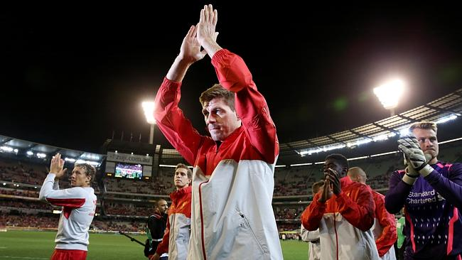 Steven Gerrard applauds the crowd during Liverpool's friendly against Victory.