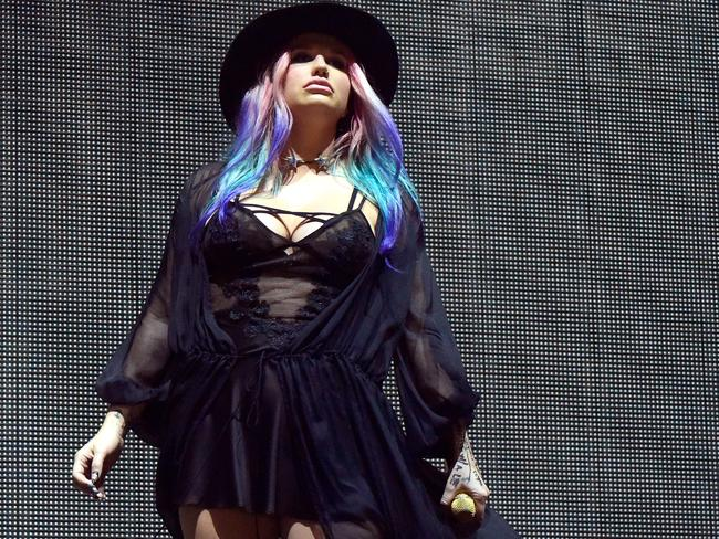 Kesha made an appearance during Zedd's set. Picture: Frazer Harrison/Getty Images for Coachella