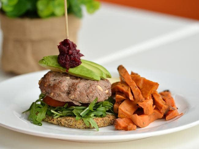 A lamb burger ... On the menu at paleo Cafe in Townsville, Queensland. Picture: Fiona Harding / News Corp Australia