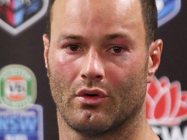 SYDNEY, AUSTRALIA - JUNE 21:  Boyd Cordner of the Blues speaks at a press conference after game two of the State Of Origin series between the New South Wales Blues and the Queensland Maroons at ANZ Stadium on June 21, 2017 in Sydney, Australia.  (Photo by Mark Metcalfe/Getty Images)