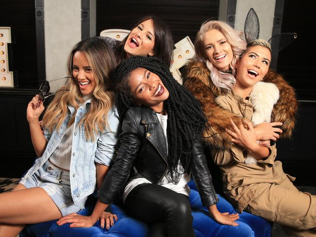 Simone Battle (centre) with her GRL band members Emmalyn Estrada, Natasha Slayton, Lauren Bennett and Paula Van Oppen pictured at the QT Hotel in Sydney while on a promotional tour of Australia. Picture: Toby Zerna