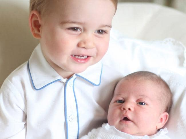 New heirs ... Prince George holds his baby sister at Anmer Hall in Norfolk, England. Picture: The Duchess of Cambridge via Getty Images