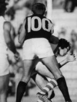 Mal Brown can top that with this No.100 guernsey he wore in a WAFL match in the 60s.