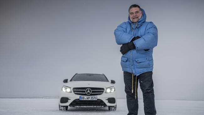 Safety engineer Frank Werner-Mohn on an ice lake in Sweden with the latest Mercedes E Class. Picture: Daniel Maurer.