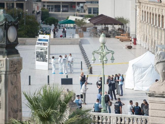French police officers work outside Saint-Charles train station in Marseille. Picture: AFP/Bertrand Langlois