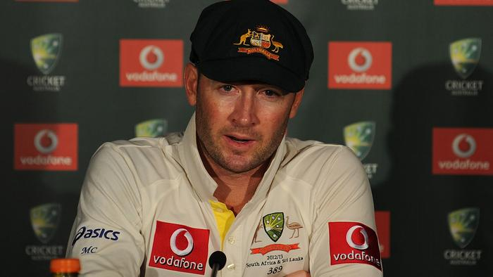 BRISBANE, AUSTRALIA - NOVEMBER 13: Michael Clarke of Australia speaks during a press conference after day five of the First Test match between Australia and South Africa at The Gabba on November 13, 2012 in Brisbane, Australia. (Photo by Matt Roberts/Getty Images)