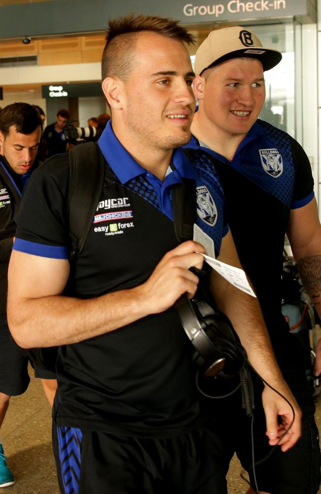 Josh Reynolds and Greg Eastwood and their Bulldog team mates depart Sydney Airport for their flight to Brisbane to take on the Broncos on Friday night.