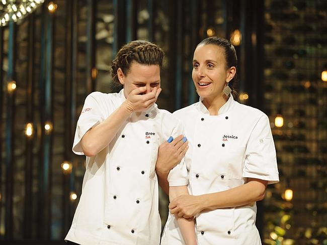 Emotional overload ... Bree May and Jessica Liebich realise they have won My Kitchen Rules. Picture: Channel 7