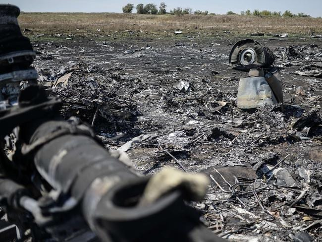 Crash zone ... war is escalating in the immediate area of the Malaysia Airlines crash site in the village of Hrabove (Grabovo), some 80km east of Donetsk. Picture: AFP