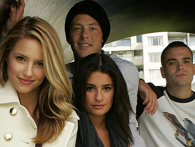Early days ... Glee cast members (L to R) Dianna Agron, Lea Michele, Cory Monteith and Mark Salling. Picture: Supplied