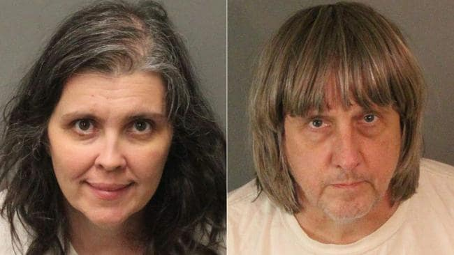 David and Louise Turpin were arrested after authorities found a dozen malnourished siblings held captive in their home. Picture: AFP