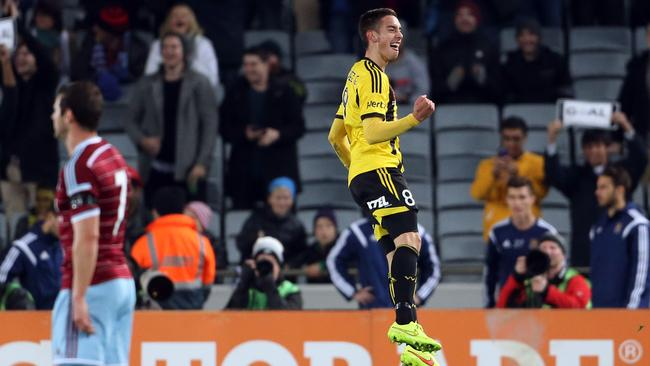 Alex Gorrin of Wellington Phoenix celebrates his goal against West Ham United.